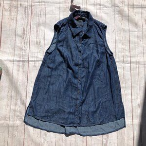 Peck & Peck denim button front shirt sm